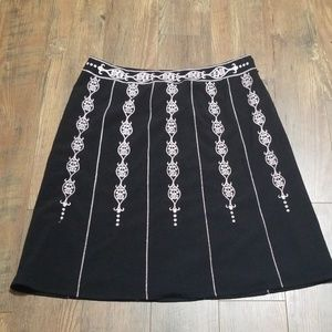 Black Skirt with Light Pink Embroidery